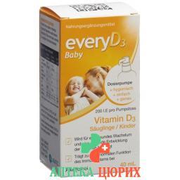 Эвери витамин Д3 для детей и младенцев 200 МЕ без алкоголя 40 мл