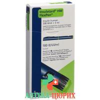 Инсулин Инсулатард HM 100 МЕ/мл Флекспен предварительно заполненная шприц-ручка 5x3 мл