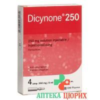 Дицинон раствор для инъекций 250 мг 4 ампулы по 2 мл