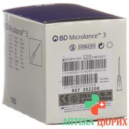 BD Microlance 3 Injektionskanulen 0.4мм x 19мм Grau 100 штук