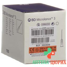 BD Microlance 3 Injektionskanulen 0.5мм x 25мм Orange 100 штук