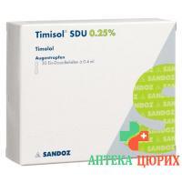 Тимизол СДУ глазные капли 0.25% 30 монодоз X 0.4 мл