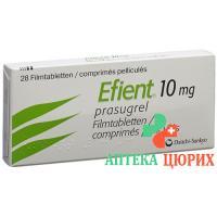 Эфиент 10 мг 28 таблеток покрытых оболочкой