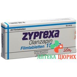 Зипрекса 15 мг 28 таблеток покрытых оболочкой