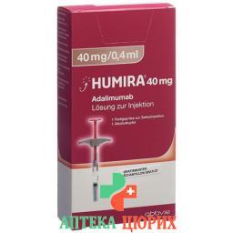 Хумира раствор для инъекций 40 мг / 0,4 мл предварительно заполненный шприц 0,4 мл