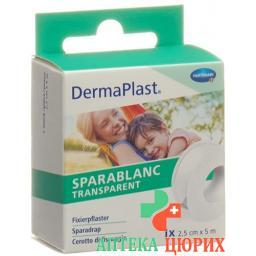 Dermaplast Sparablanc прозрачный 2.5смx5m Weiss