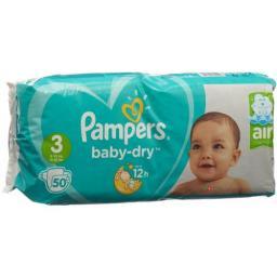 Pampers Baby Dry размер 3 4-9кг Midi Sparpack 50 штук