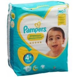 Pampers Premium Prot размер 4+ 9-18кг Tragepack 21 штука