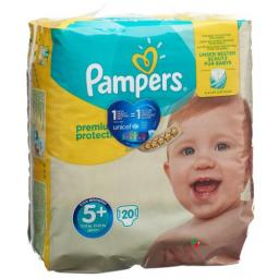 Pampers Premium Prot размер 5+ 13-25кг Tragepack 20 штук