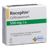 Роцефин 500 мг сухое вещество с растворителем для приготовления раствора для в/в инъекций 1 флакон