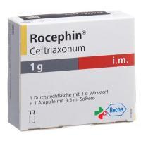 Роцефин 1 г сухое вещество с лидокаином для приготовления раствора для в/м инъекций 1 флакон