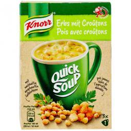Быстрый суп из зеленого горошка  Кнорр  гренки суповые смеси
